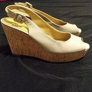 Nine West Nude Cork Wedge Size 7M Straps Heel